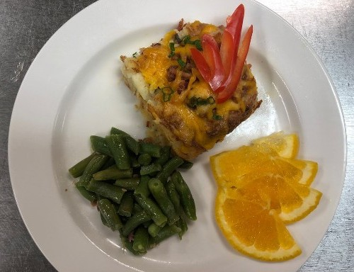 Cheesy Chicken with Green Beans and Orange Slices